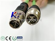 X键位M12航空接插件,针型防水插头,X键位圆形连接器