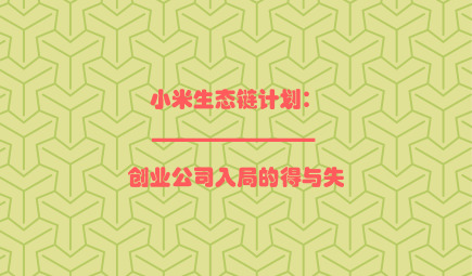 小米生态链计划:创业公司入局的得与失