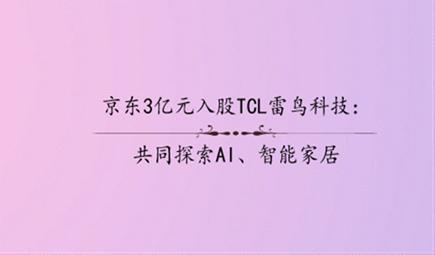 京东3亿元入股TCL雷鸟科技:共同探索AI、智能家居