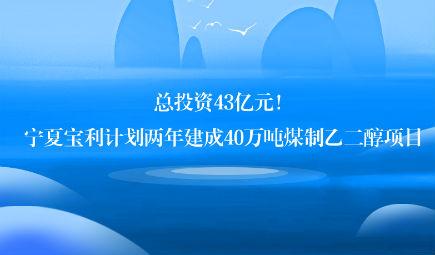 总投资43亿元!宁夏宝利计划两年建成40万吨煤制乙二醇项目