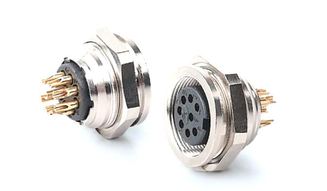 AISG航空插座母座焊板 产品编号:KYF16K口Z/M18x0.75-O-Q (备注:口表示芯数,根据实际需要填写) 详细介绍:AISG圆形连接器是通信行业广泛采用的一系列连接器。芯数为8芯及以内,有压线式和焊线式、焊板式三种端接方式,外壳材质有铜、锌合金两种可供选择,防水等级IP67,主要用于电调天线。我司生产的此系列产品符合AISG标准,可以国内外同类产品互换。
