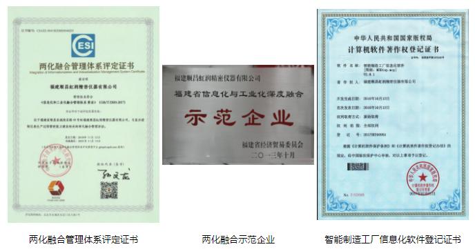 虹润公司获得两化融合管理体系评定证书